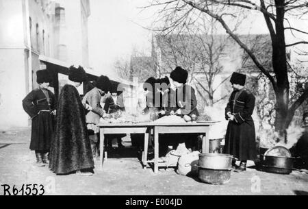 Cossacks in the field kitchen - Stock Photo