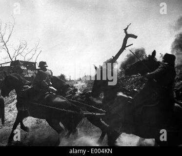 German soldiers cross barrage during the First World War - Stock Photo