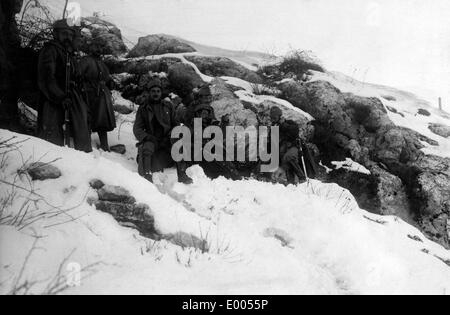 Austro-Hungarian soldiers on top of Mount Lovcen, 1916 - Stock Photo