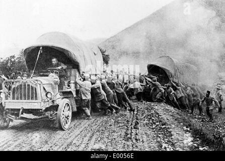 Russian convoy in Macedonia, 1916 - Stock Photo