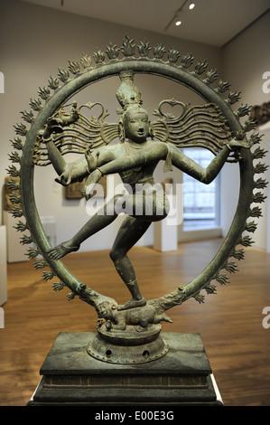 Shiva Nataraja. 12th century. Bronze, Chola style. Tamil Nadu, India. Rijksmuseum. Amsterdam. Holland. - Stock Photo