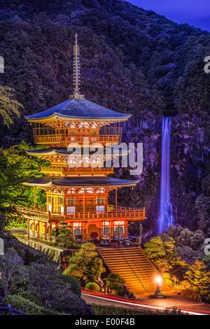 Nachi, Japan at Nachi Taisha Shrine Pagoda and waterfall. - Stock Photo