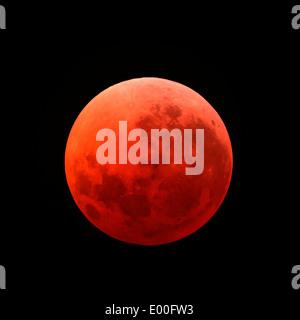 Lunar eclipse taken on April 15, 2014. - Stock Photo