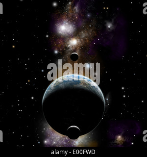 An artist's depiction of an Earth type world with two moons against a background of nebula and stars. - Stock Photo