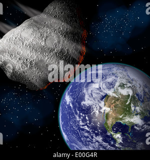 Artist's depiction of a large asteroid approaching Earth on a collision course. - Stock Photo