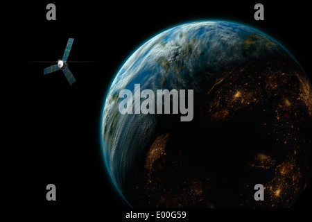 An artist's depiction of a satellite in orbit around an Earth-like inhabited world. Some image components courtesy - Stock Photo