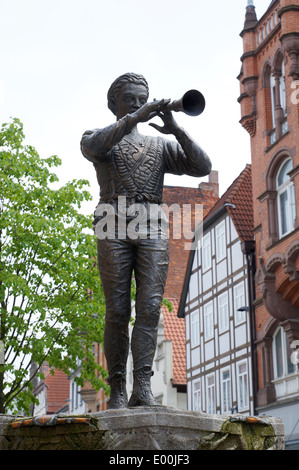 statue of the Pied Piper of Hamelin in Hameln, Germany - Stock Photo