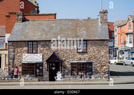 Cafe in old stone cottage on the seafront in Rhos-on-Sea, Colwyn Bay, Conwy, North Wales, UK, Britain - Stock Photo