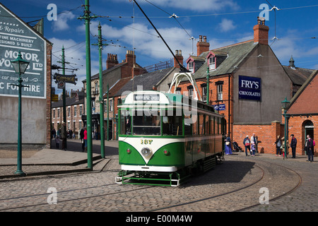 Tram in Victorian Village at the Beamish Museum, Durham, England - Stock Photo