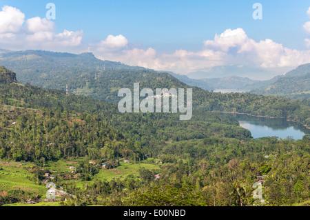Mountain landscape of Sri Lanka. View of Kotmale Reservoir. - Stock Photo