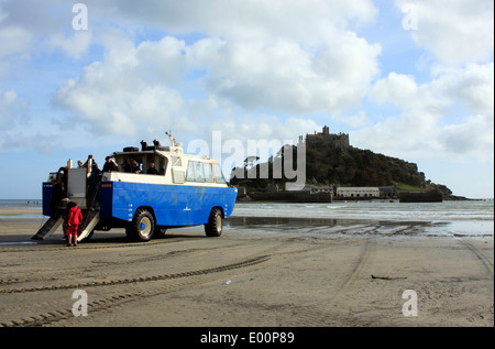 Passenger Ferry at Marazion beach overlooking St Michael's Mount in Cornwall - Stock Photo