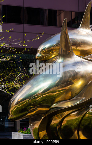 Abstract image of a sculpture called The Pod in downtown Vancouver - Stock Photo