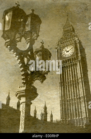 Vintage Antigue Picture of Big Ben/the Houses of Parliament in London. - Stock Photo
