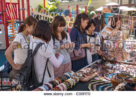 Sydney Australia NSW New South Wales Paddington Oxford Street Paddington Markets shopping display traders vendors - Stock Photo
