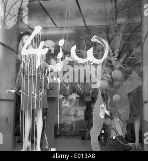 Shop window in Prague after an ice hockey World Cup match in Sweden, 1969 - Stock Photo