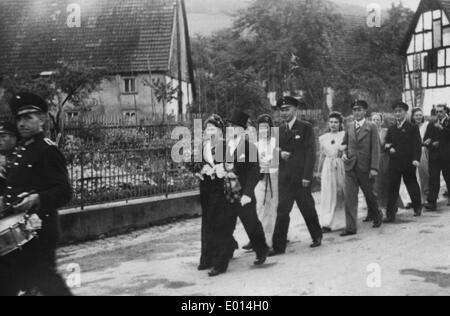 Schuetzenfest ('marksmen's festival') in Endorf in the Sauerland, 1948 - Stock Photo