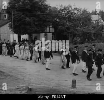 Schuetzenfest ('marksmen's festival') in Endorf in the Sauerland, 1947 - Stock Photo