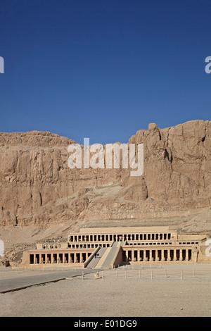 Colonnaded design of Hatshepsut temple, Temple of Queen Hatshepsut, Open air museum - Stock Photo