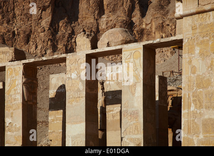 Colonnaded design of Hatshepsut temple, Temple of Queen Hatshepsut, Open air museum - Stock Photo