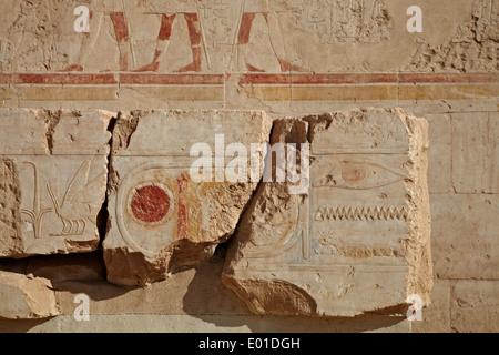 Colonnaded design of Hatshepsut temple, Temple of Hatshepsut, Open air museum - Stock Photo