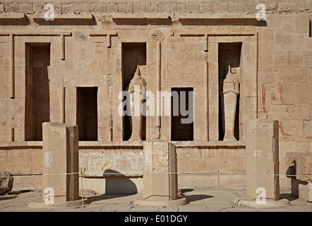 Colonnaded design of Hatshepsut temple, Temple of Hatshepsut, Open air museum - Stock Photo