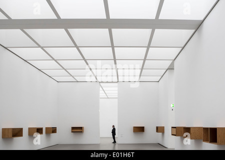 Interior of gallery at Pinakothek Museum in Munich Germany - Stock Photo
