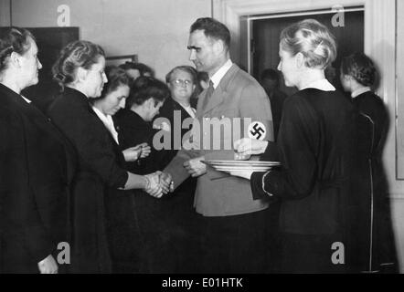 Rudolf Hess giving medals to members of the National Socialist Woman's League, 1940 - Stock Photo