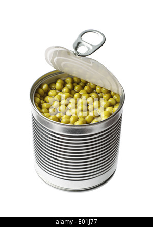 Canned green peas in open tin can isolated on white - Stock Photo