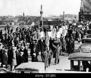 Global economic crisis: Unemployed demonstrators in Albany, 1931 - Stock Photo