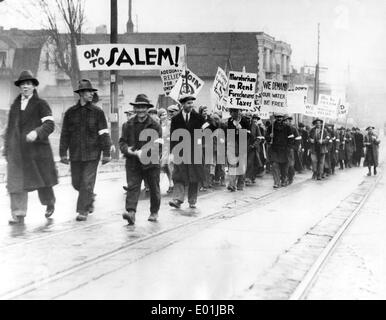 Global economic crisis: Unemployed demonstrators in America, 1933 - Stock Photo