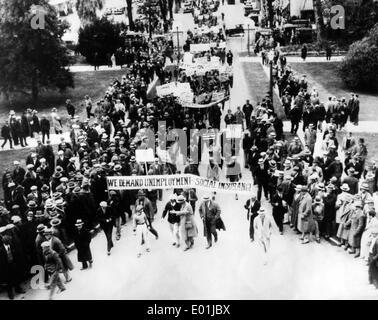 Global economic crisis: Unemployed demonstrators in California, 1931 - Stock Photo