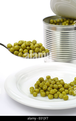 Canned green peas in spoon and plate on white - Stock Photo