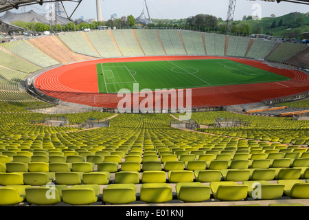 Interior of the former Olympic Stadium at Olympic Park in Munich Bavaria Germany - Stock Photo