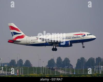 G-DBCF British Airways Airbus A319-131 landing at Schiphol (AMS - EHAM), The Netherlands - Stock Photo