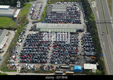 aerial view of a large car scrapyard next to the M58 at Skelmersdale, Lancashire - Stock Photo