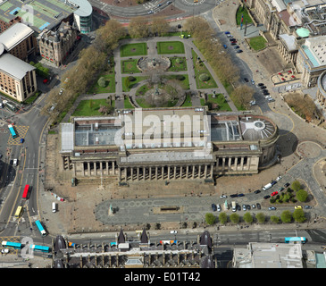 aerial view of St George's Hall and St John's Gardens, Liverpool city centre - Stock Photo