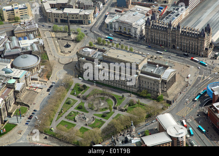 aerial view of Liverpool - St George's Hall, St John's Gardens, Wellington's Column, Lime Street Station & Empire - Stock Photo