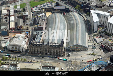 aerial view of Lime Street railway station and Liverpool Empire Theatre in Liverpool city centre - Stock Photo