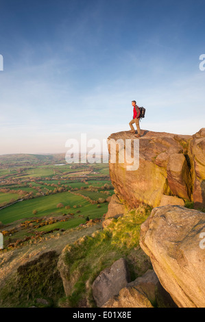 Rambler looking across the Cheshire Plains from Bosley Cloud Congleton Cheshire - Stock Photo