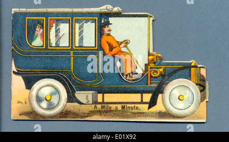 Die cut postcard titled 'A Mile a Minute' - Stock Photo