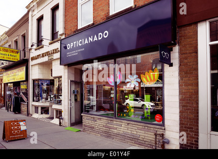 Opticianado vintage and fine eyewear store at the Junction neighbourhood in Toronto, Canada - Stock Photo