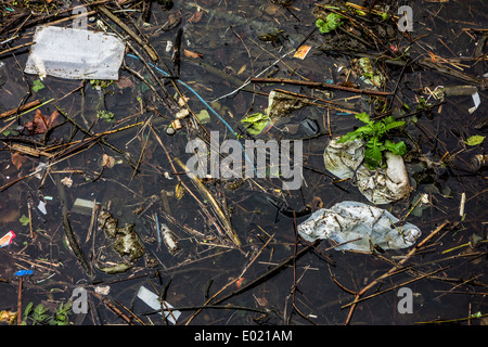 Plastic rubbish and other non-degradable waste in water of canal - Stock Photo