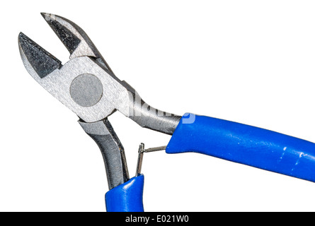 Pair of electrical wire cutters on a white background. - Stock Photo