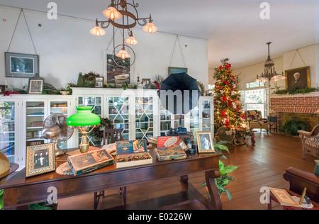 Interior of Seminole Lodge, Thomas Edison's winter home, Edison and Ford Winter Estates, Fort Myers, Florida, USA - Stock Photo