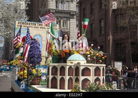 Float paying tribute to the ancient Zoroastrian religion of Persia. Persian Day Parade, New York City - Stock Photo