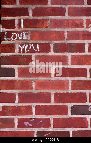 The words, 'I Love You' written in chalk on a wall in Brooklyn, New York - Stock Photo