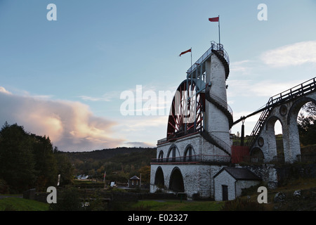 The Great Laxey Wheel at sunset, Isle of Man - Stock Photo