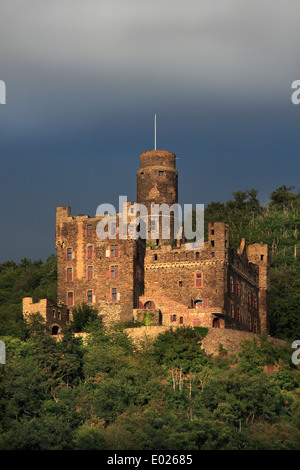 Photo of Maus Castle above Wellmich on the Upper Middle Rhine River, Germany - Stock Photo