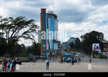 Modern building rising up in Addis Ababa's city center. - Stock Photo