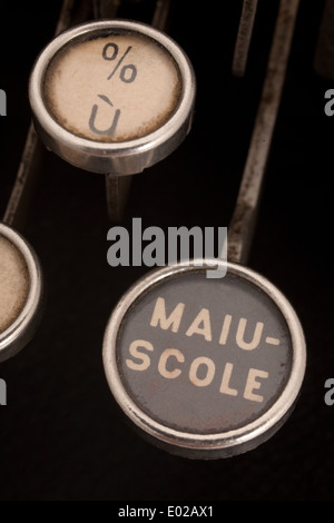 close up of caps key on an antique mechanical italian typewrite - Stock Photo